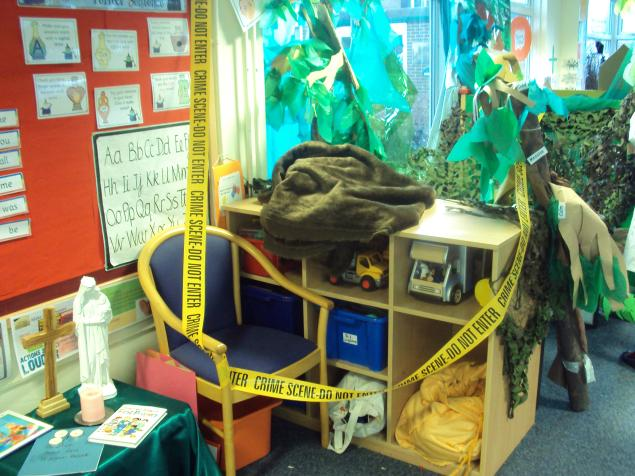 It's mystery week in school and someone has taken Winnie the Witch. We are being forensic scientist and trying to find out who it was.