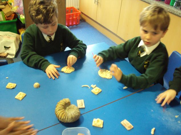 We had a look at fossils found thousands of years ago.  We designed and made our own fossils.