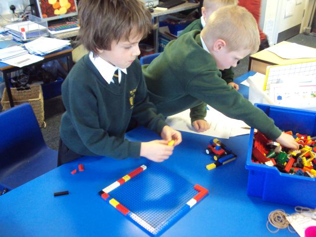 In science, we were experimenting with different materials to build houses for the 3 Little Pigs.   Some of us made brick houses from lego.
