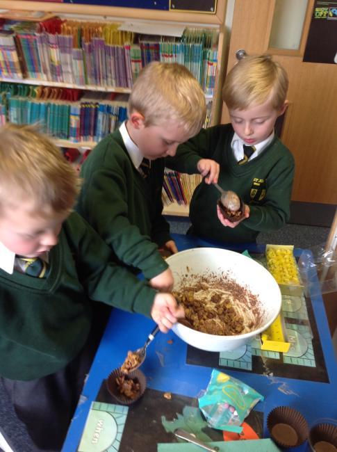 We made tasty chocolate nests.