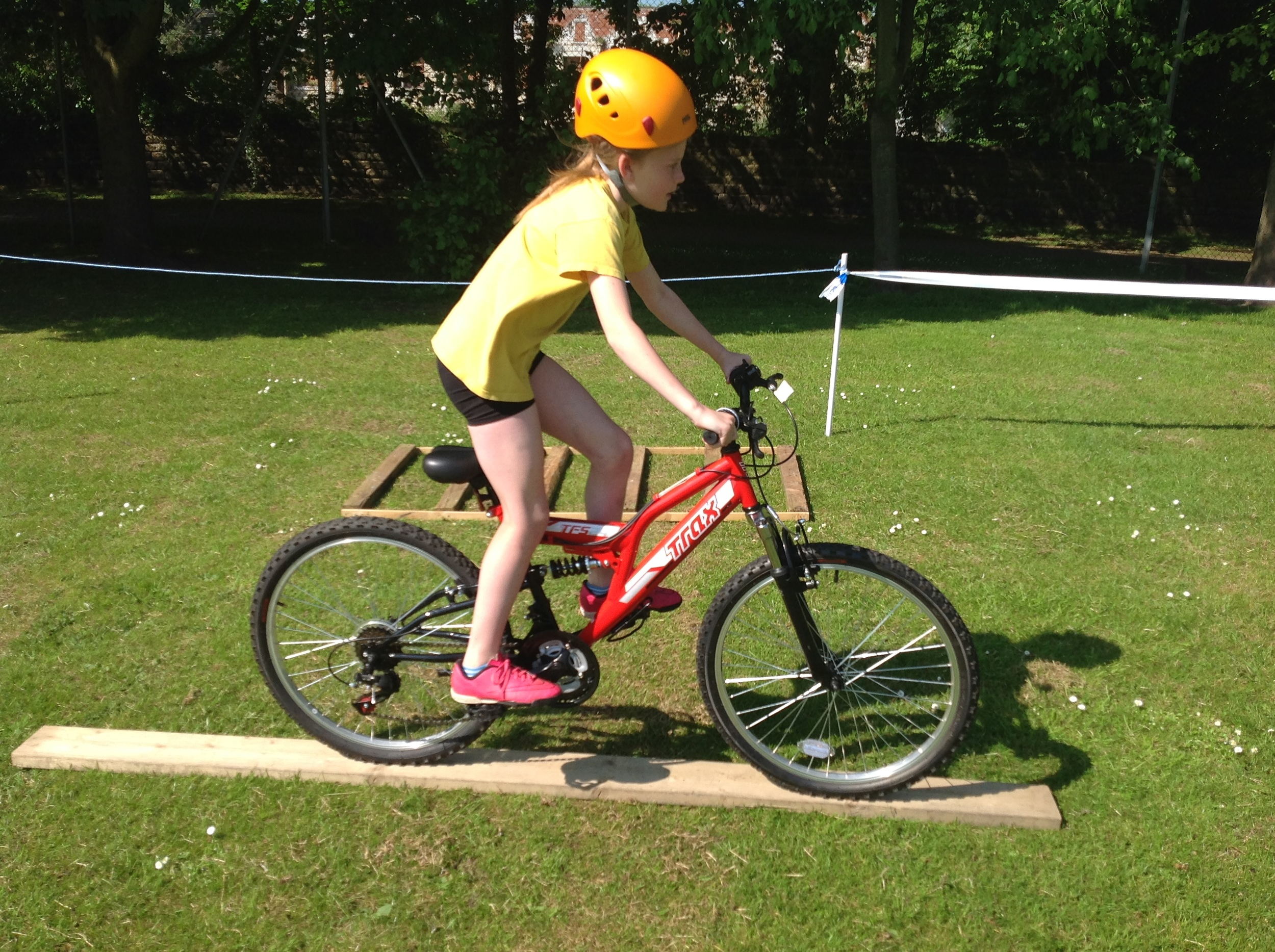 Bike handling ability .  Riding the plank and the ladder.