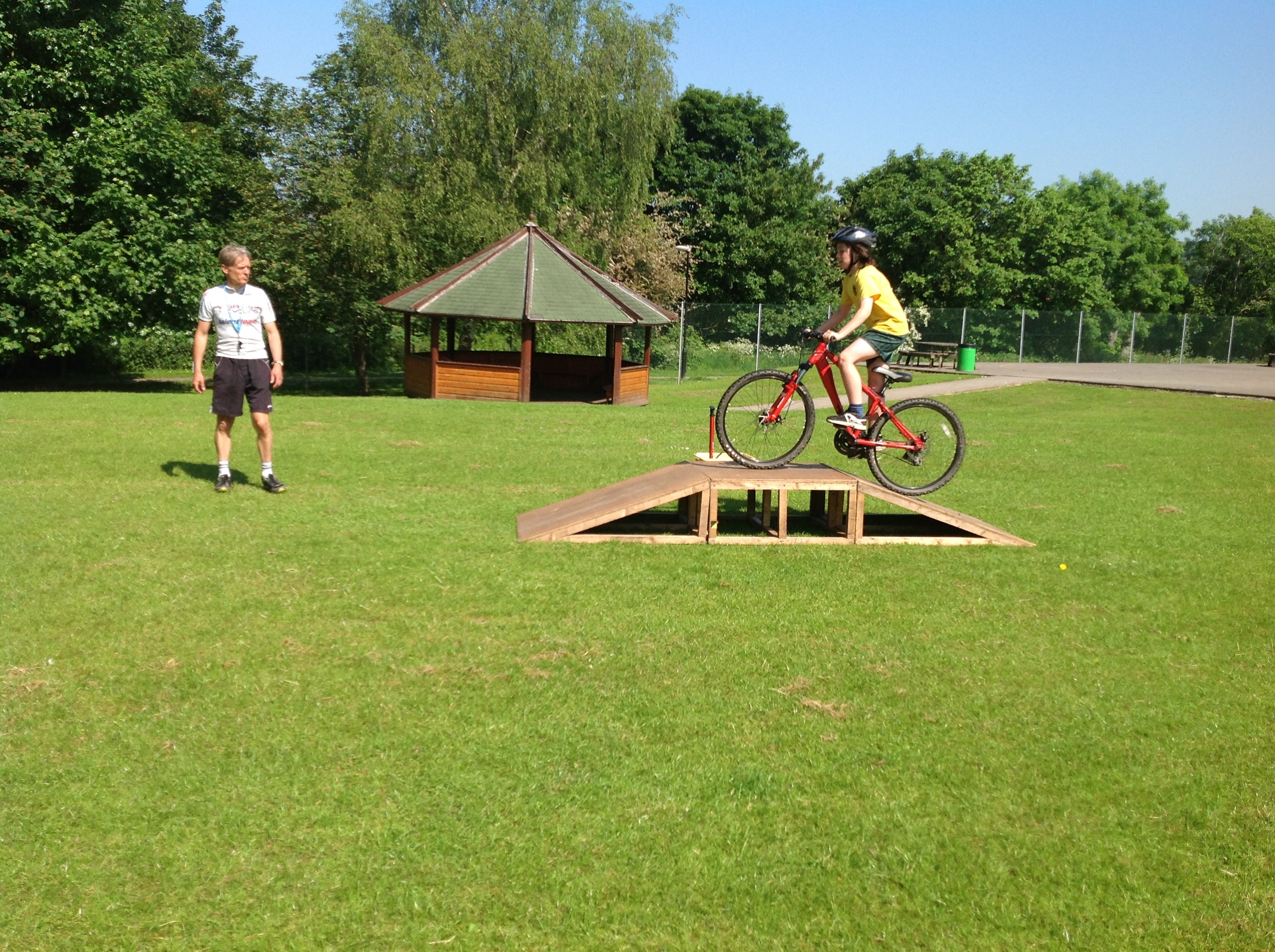 Bike handling ability .  Up and over the ramp.