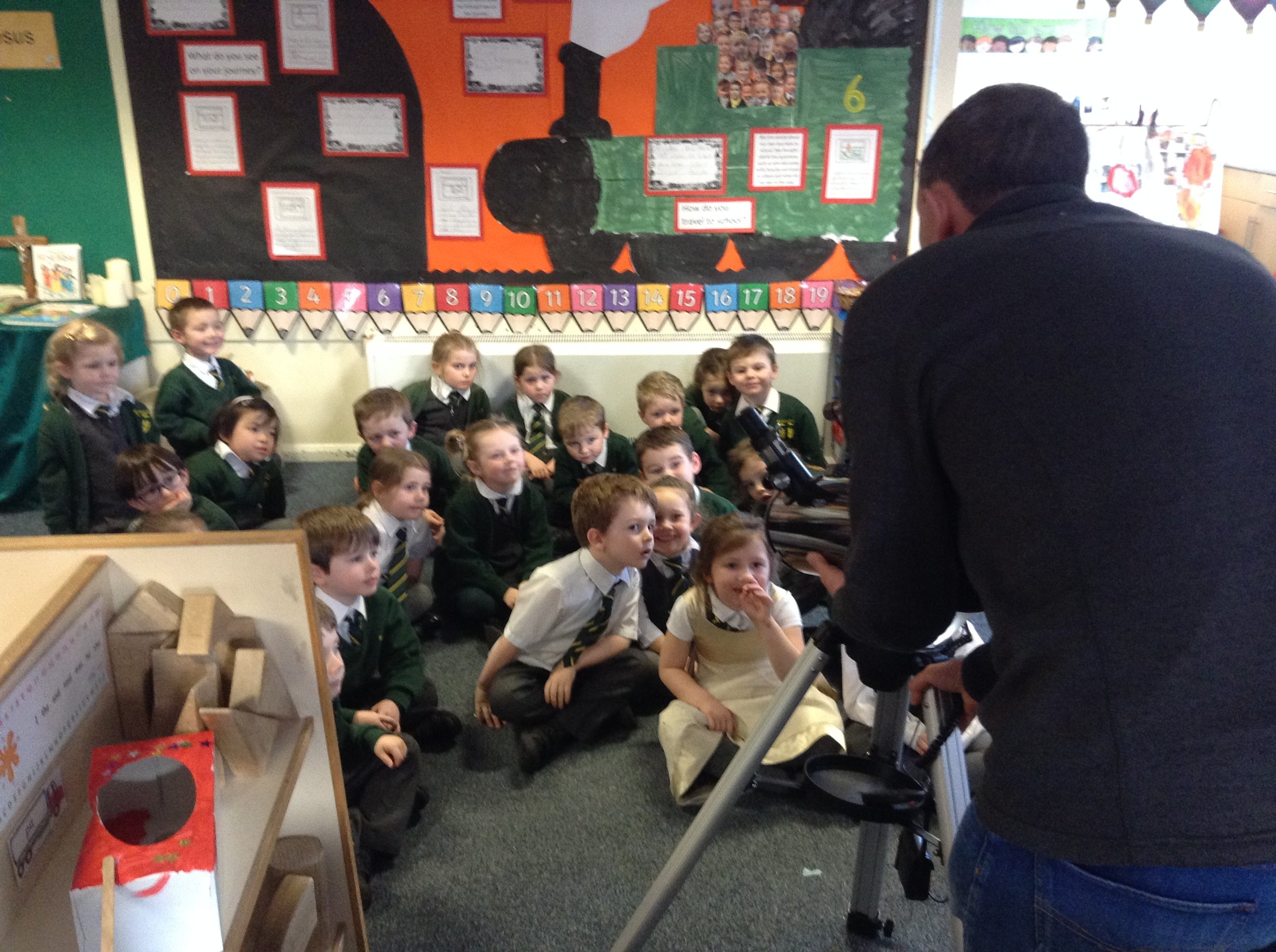 Mr Wright showing us how to use the Telescope.