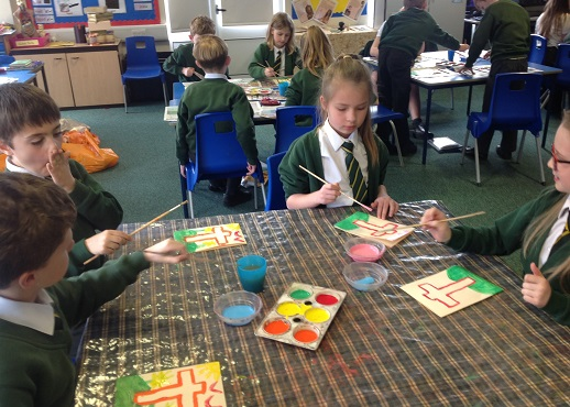 Making our Easter Cards.