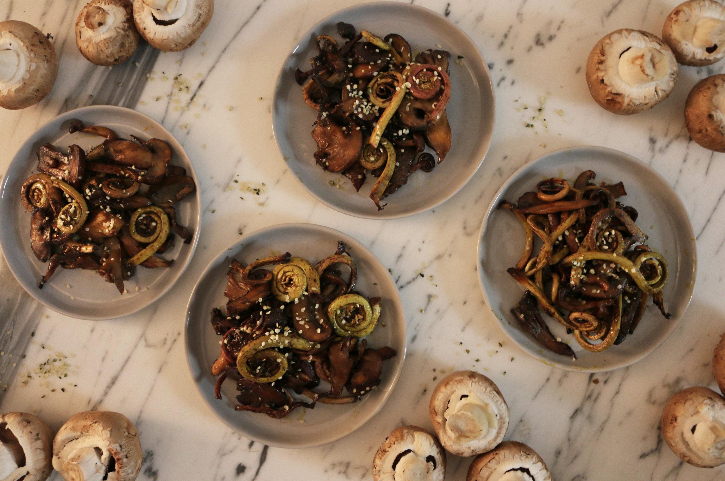 Fiddlehead and mushroom-culinarywitch
