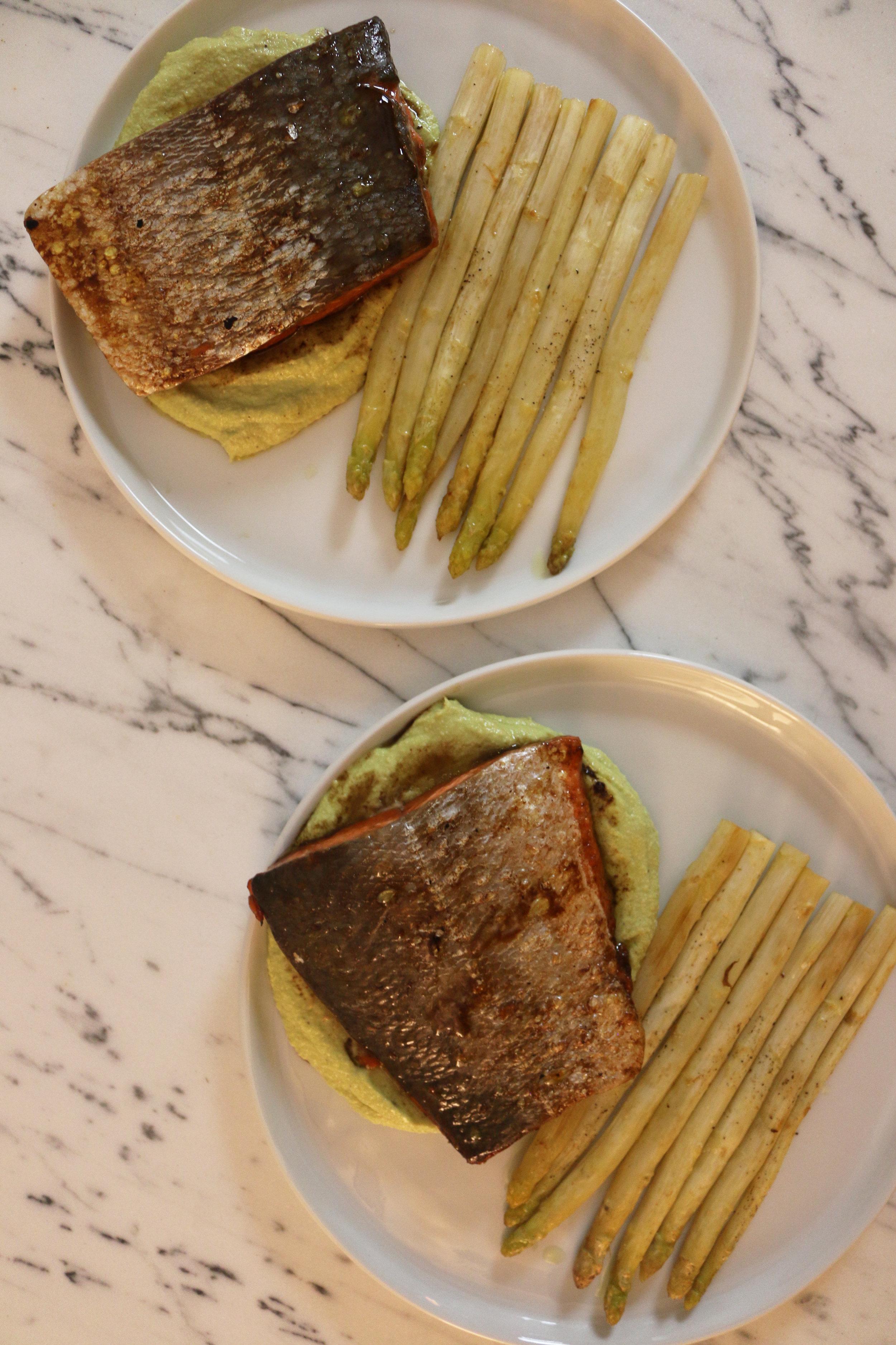 Salmon-asparagus- avocado cashew sauce-culinarywitch