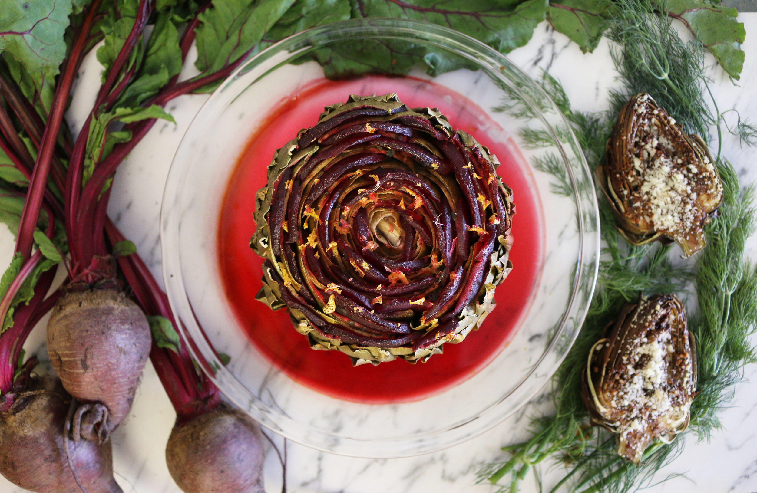 Baked Artichoke and beet rose-CulinaryWitch