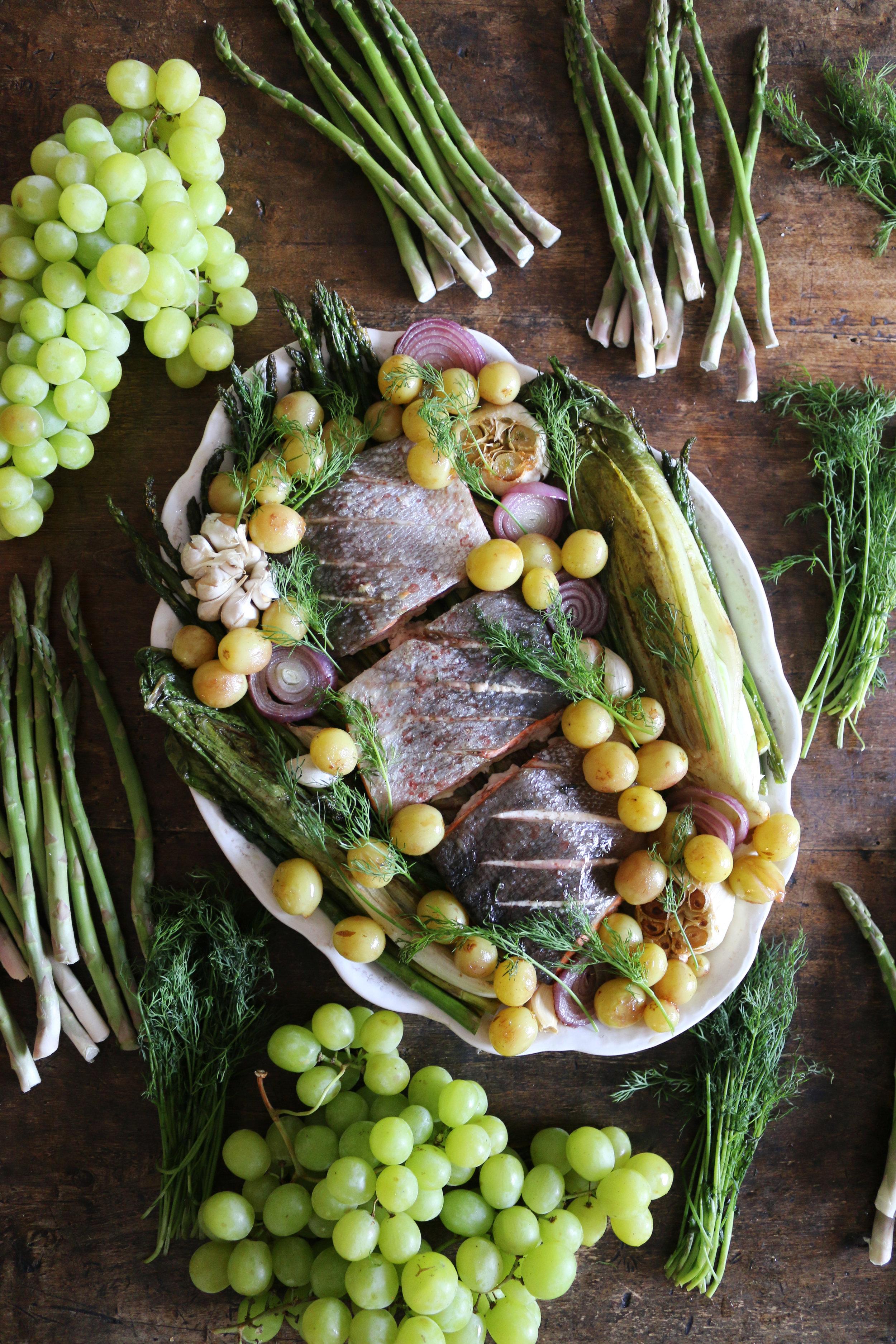 Warm Salmon, Asparagus and grape Salad-culinarywitch
