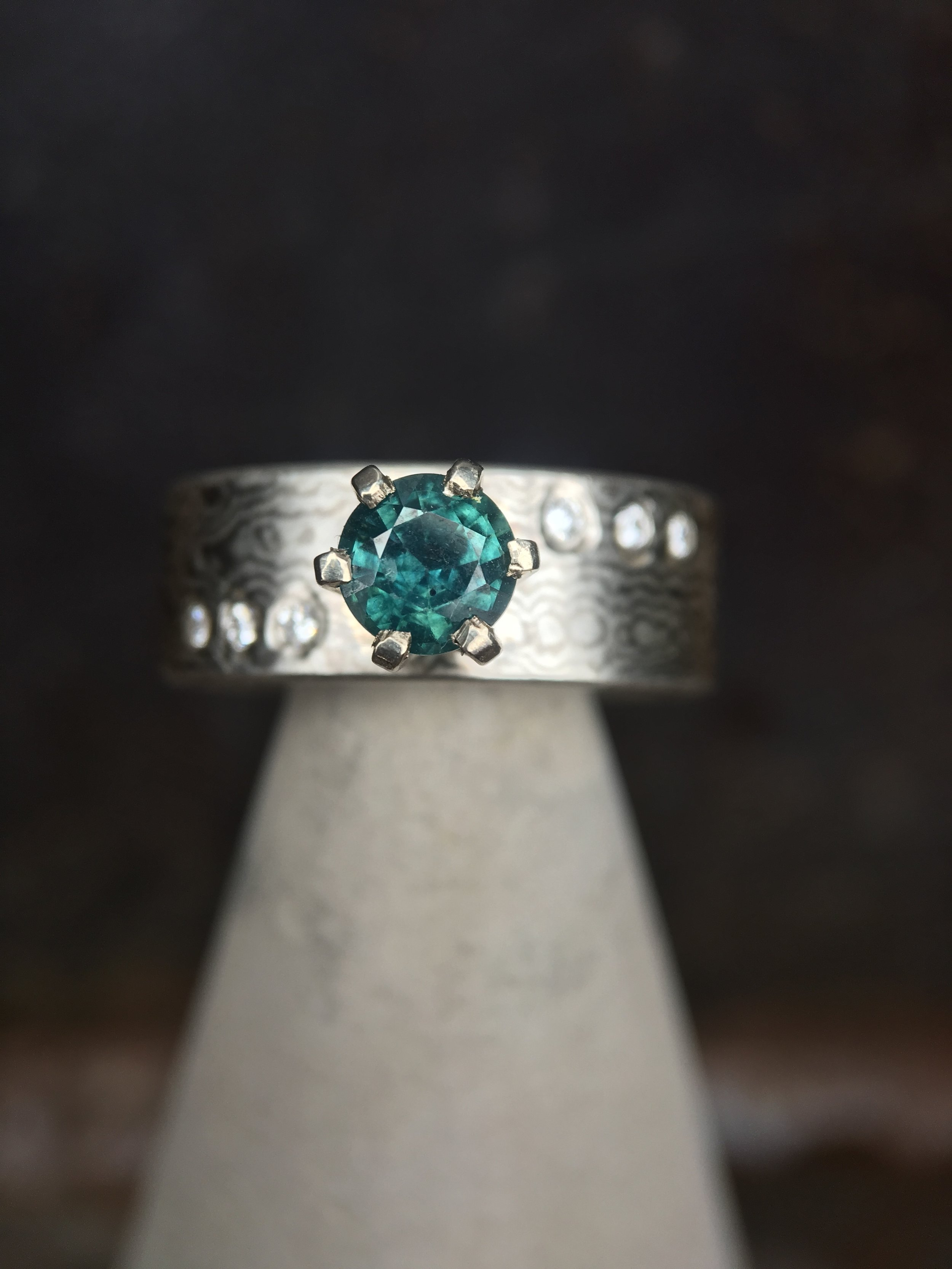 Montana Sapphire Mokume' Gane Diamond Ring
