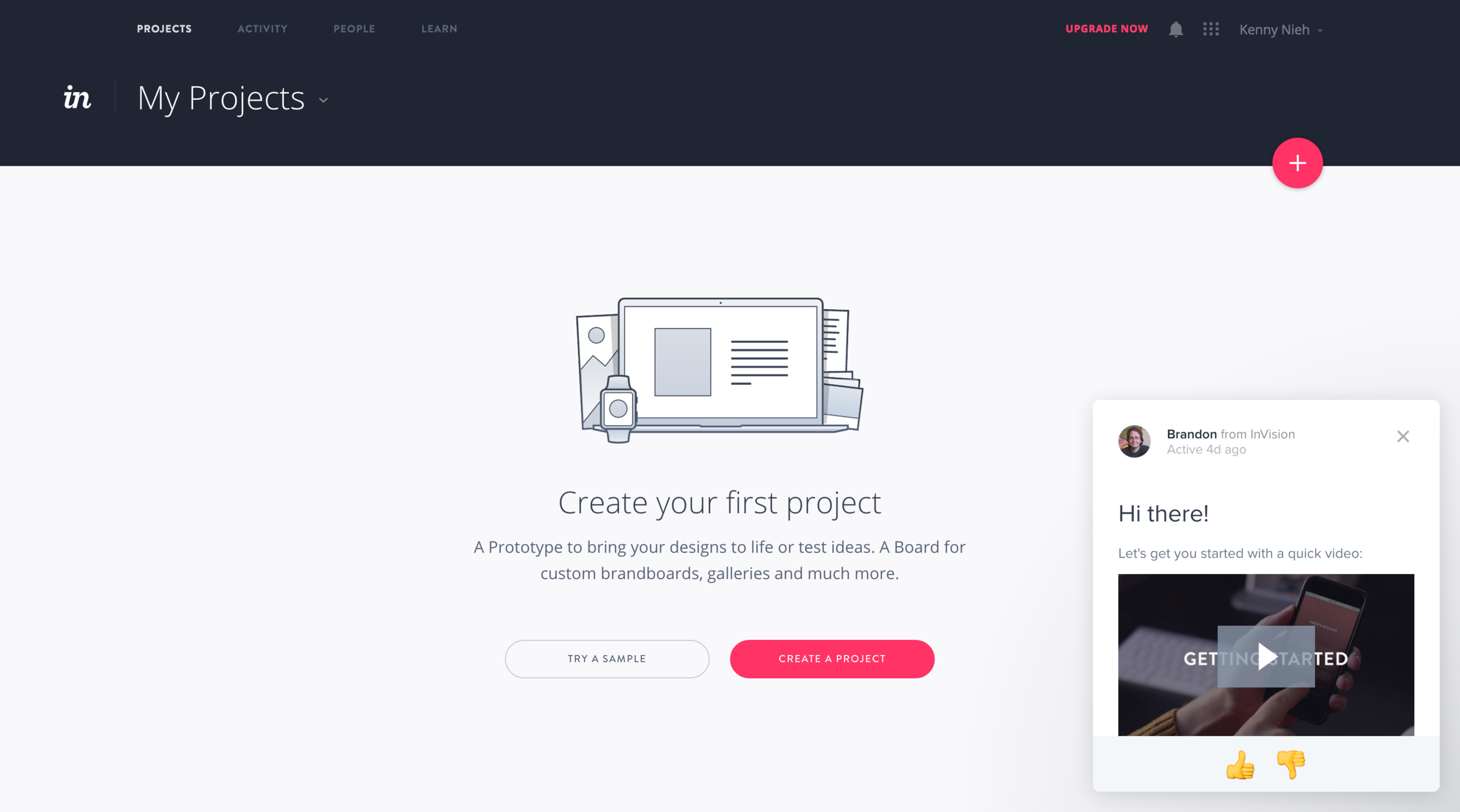 The project page for a first-time user. I imagine Invision's current onboarding is different.