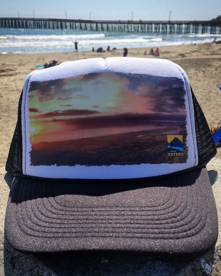 """Cayucos Collective made a nice prototype trucker hat for us. We've dubbed this graphic """"MDO Lookout"""". If you have any pics you've personally snapped and think they would make a great graphic, email us @ esteropaddle@gmail.com or DM us on Instagram: @esteropaddle There's probably a hat and some shirts in it for you. -TeddyB"""