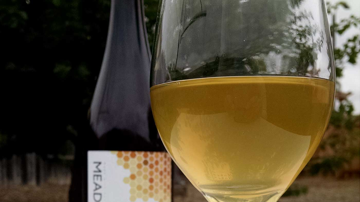 Glass of mead made from San Diego honey