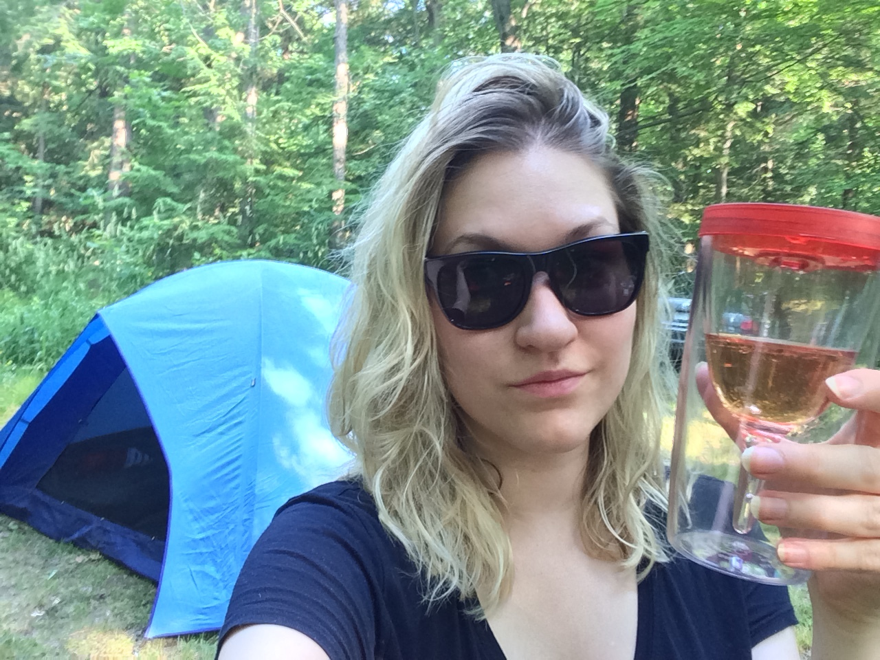 Photographic proof that I was actually camping and yes, my plastic wine cup is amazing.