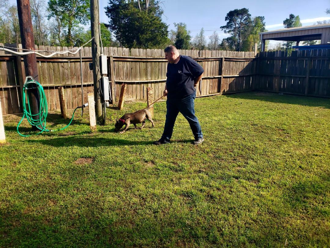 Snipes walking a dog at the shelter