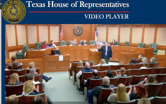 Emily Vandermeer testifying, Credit: Texas House of Representatives public hearing feed