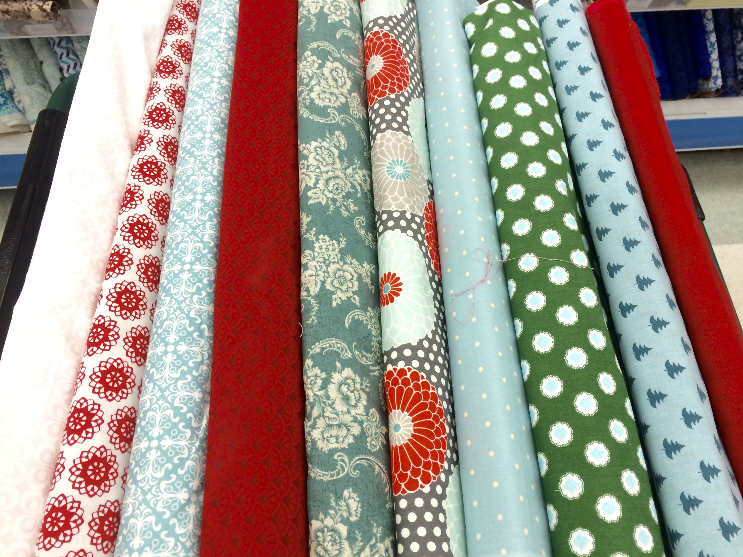 bolts of quilting fabric