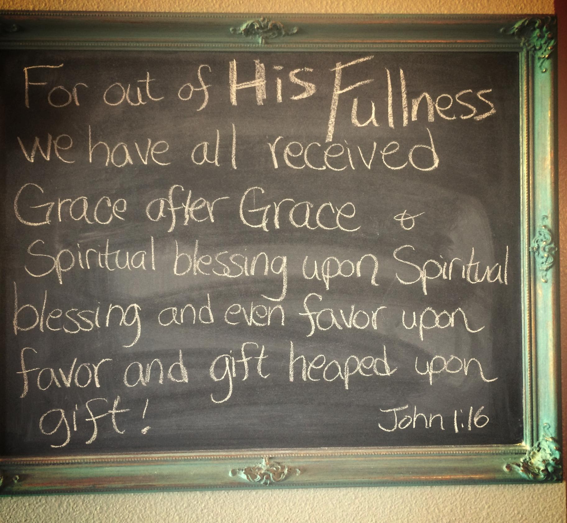 John 1:16 chalkbord