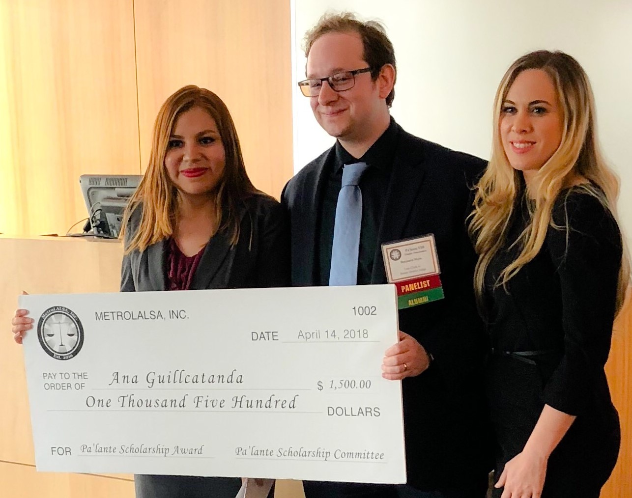 - MetroLALSA Alumnus Edda Santiago with Ana Guillcatanda (2018 Pa'lante Scholarship recipient, CUNY School of Law '18).