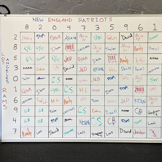 Good luck to everyone tomorrow! Enjoy the game and check back here for updates on winners.  #superbowlsquares #whowillwin? #crossfitintellect #cfi #donteattoomuchjunk #dontdrinktoomuch #youmightregretitonmonday