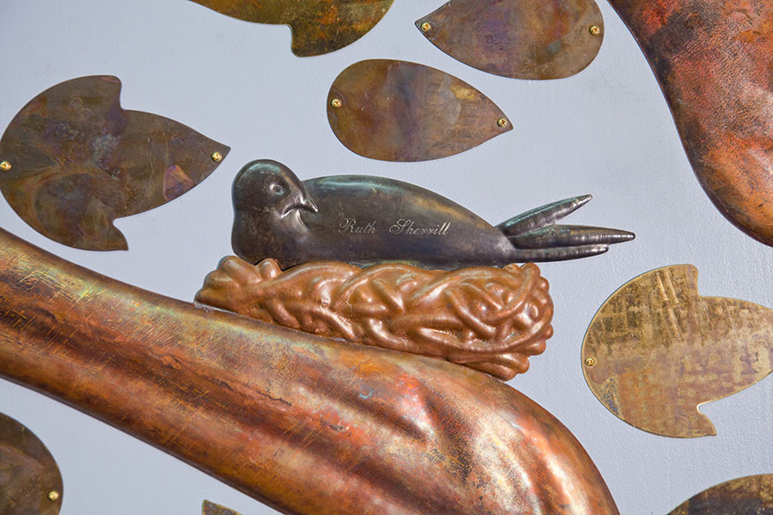 Shem Tov commemorative donor trees, copper, brass, nickel-silver, steel, 2013