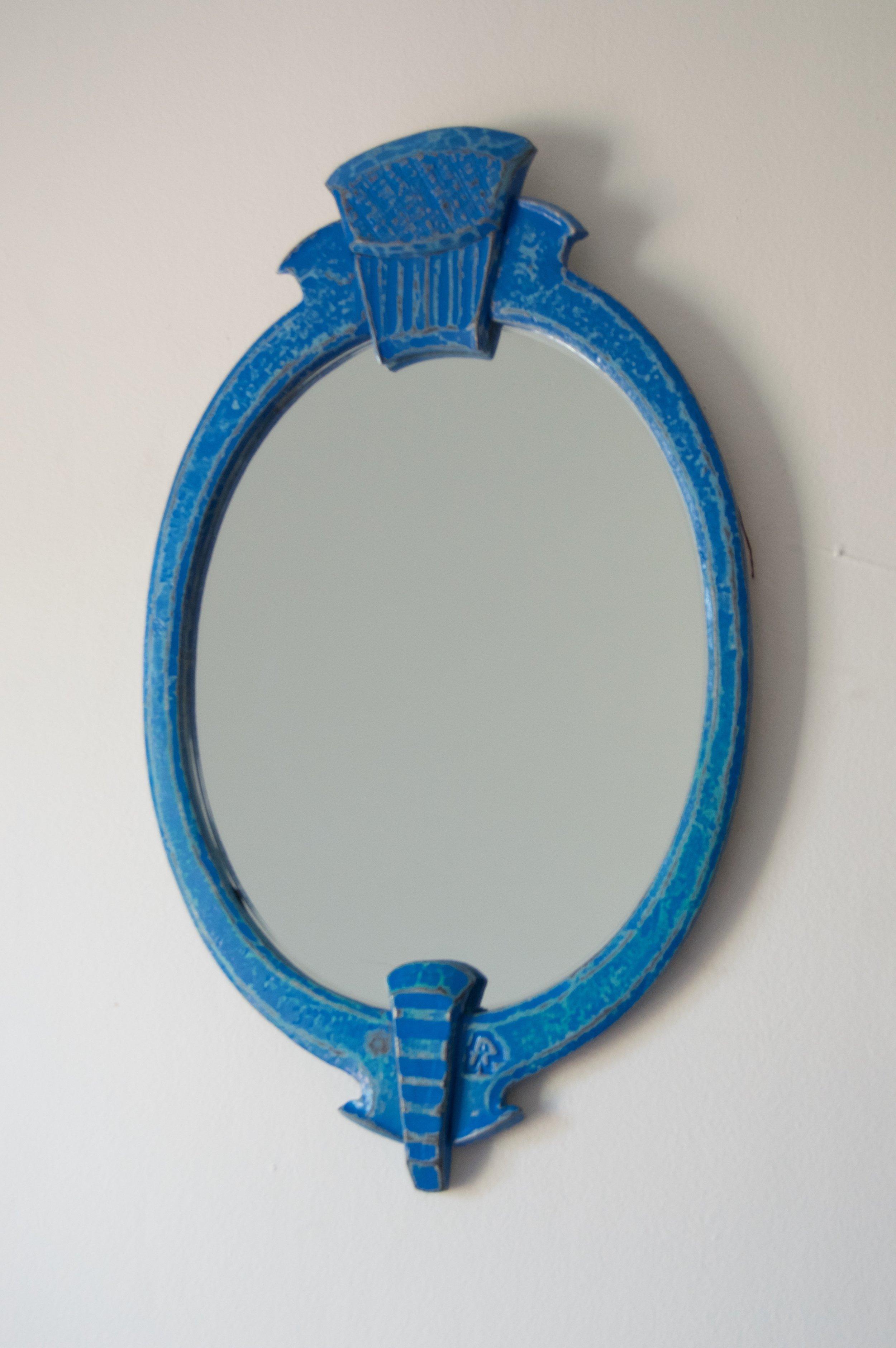 Oval Mirror, mild steel, paint, mirror, 2016
