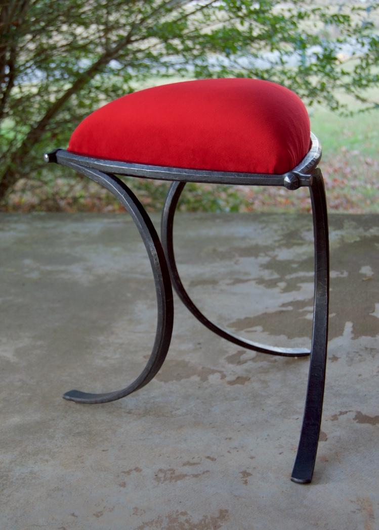 Triangle Vanity Stool, mild steel, velvet, upholstery foam, plywood, 2016