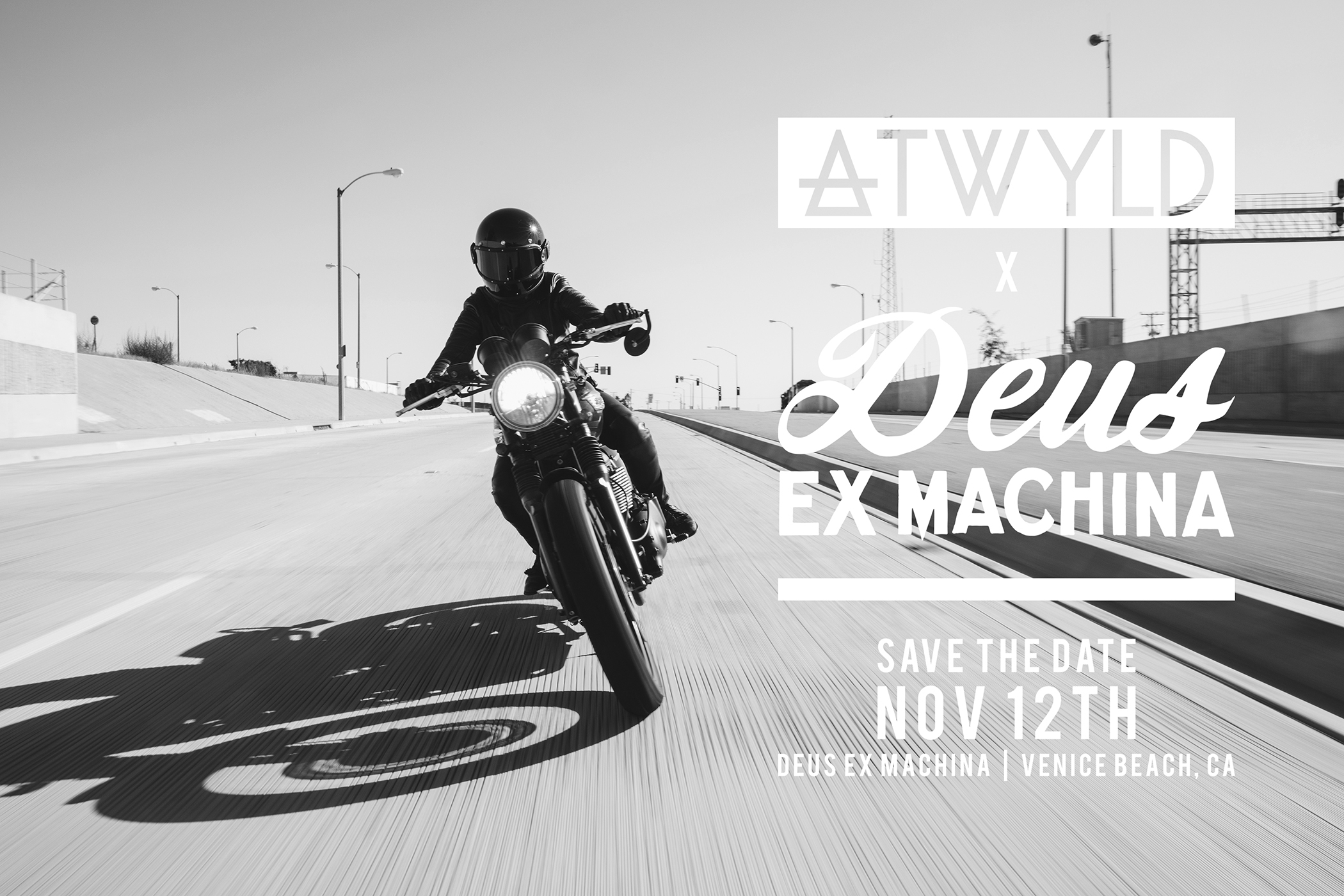 Save the Date! Please Join us on the evening of Saturday November 12th to celebrate the kick-off party for our Collection 1 pop-up shop in store at@deusemporium in Venice! Please RSVP at rsvp@atwyld.com
