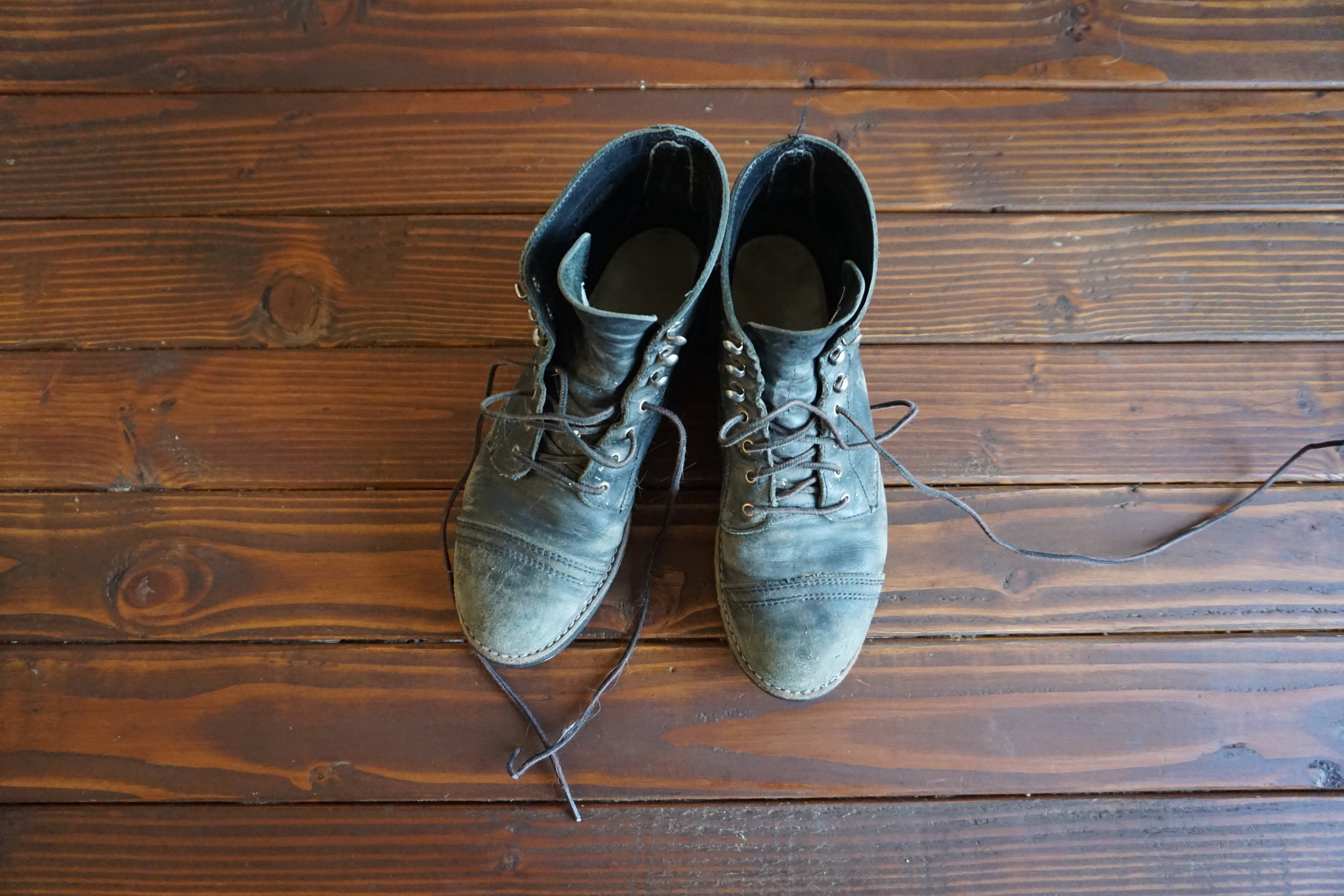BEFORE- many trips to the desert, campouts, DIY projects and long days on these boots