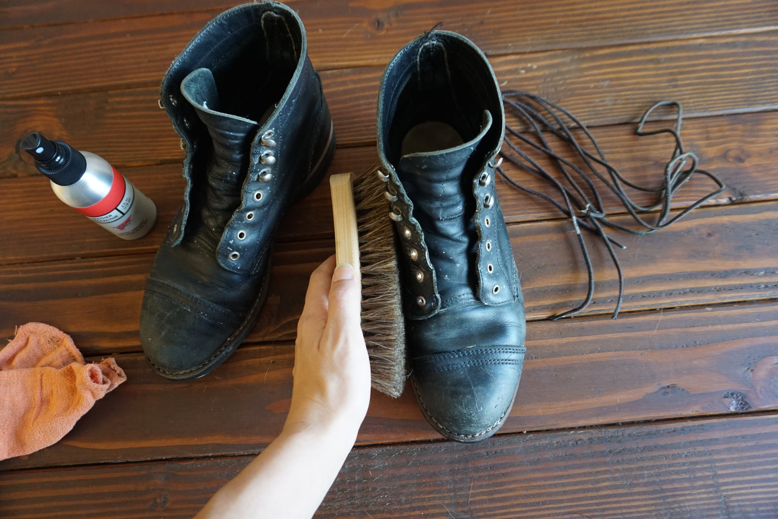 once the boot cream is dry, buff it off with the brush