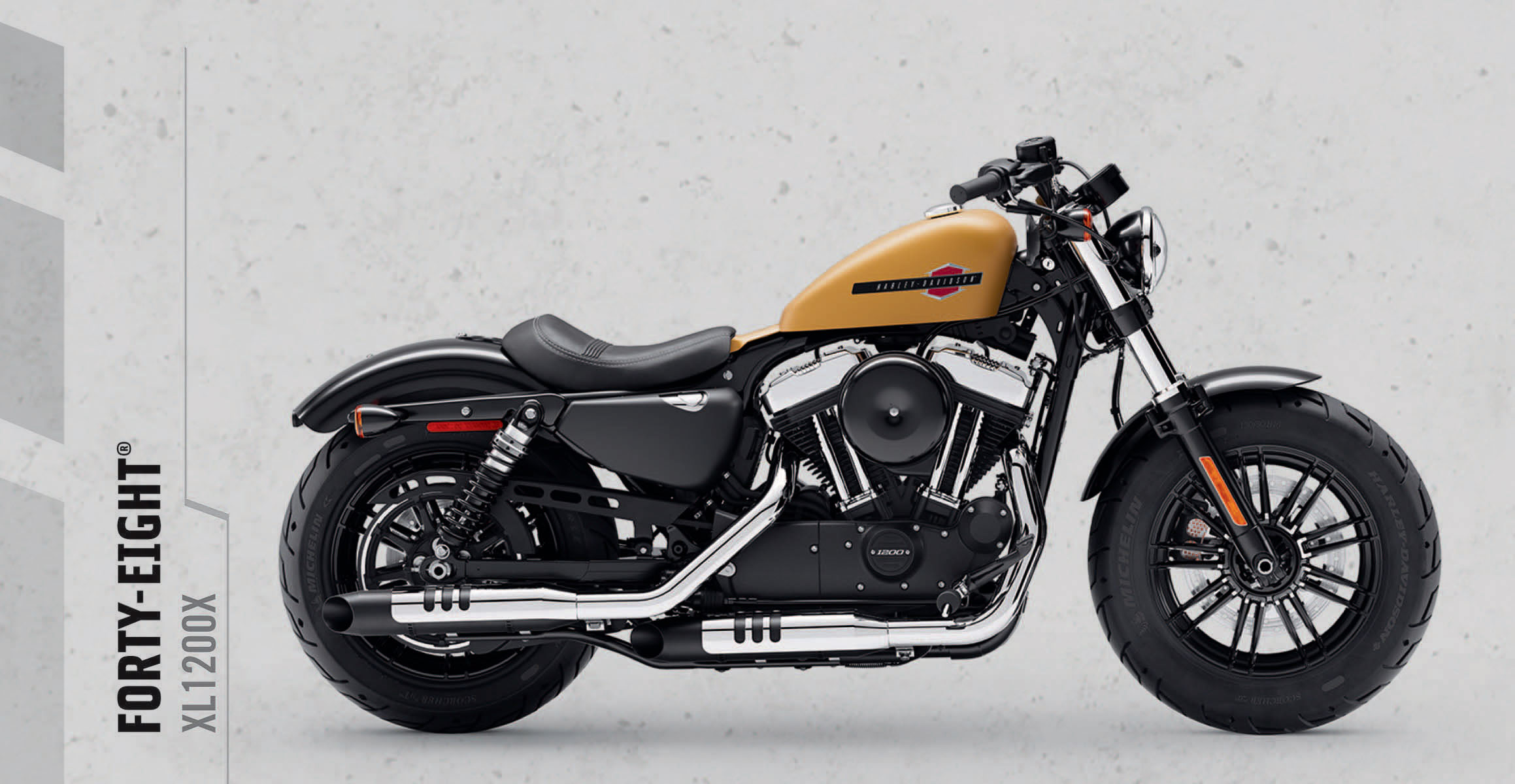 Forty-Eight®   Heavy-hitting style with fat tires and an iconic peanut tank. Designed with its signature bulldog stance and 1200cc of corner cranking torque.