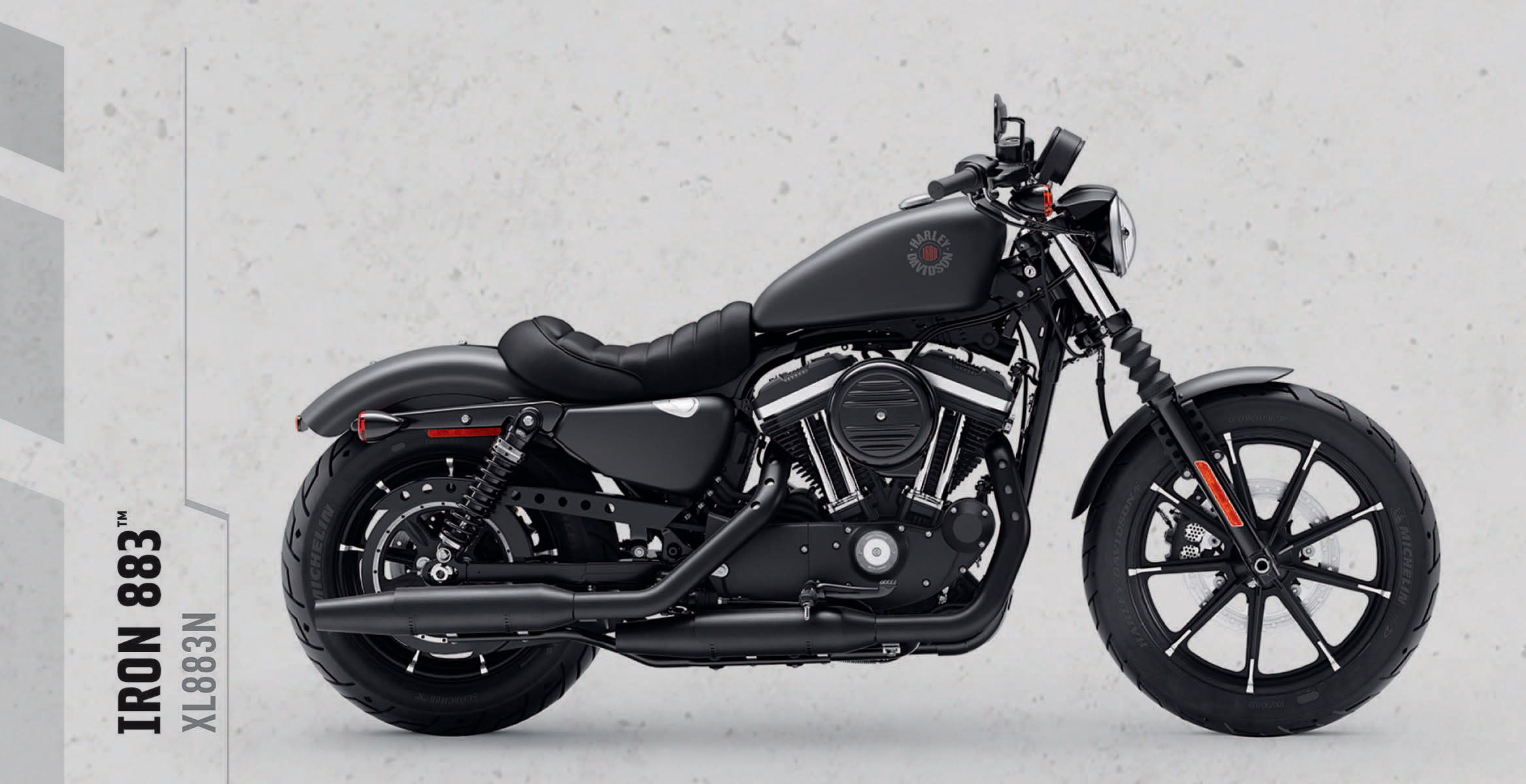 Iron 883   An original icon of the Harley-Davidson Dark Custom style. It sets the standard for the raw, stripped-down, blacked-out look. Now with fresh, new graphics.