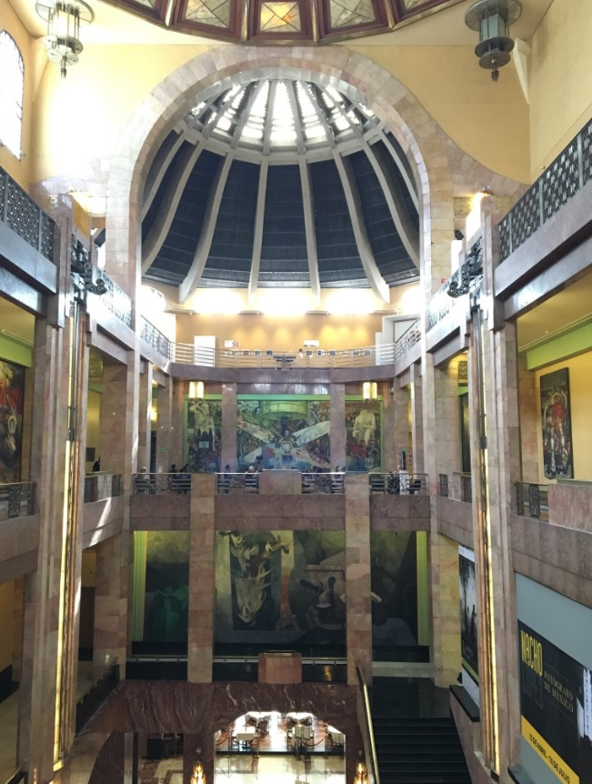 Interior of the Palacio de Bellas Artes. There are epic murals on interior walls on the first and second floors by some of Mexico's greatest artists, including Diego Rivera, Jose Clemente Orozco, David Alfaro Siqueiros and Rufino Tamayo