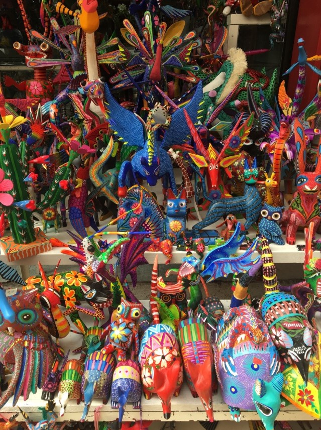 Alebrijes – from Oaxaca and made entirely by hand, sculptures made from copal wood and their ingenious shapes with amazing patterns and colors
