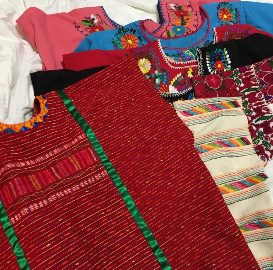 I bought some amazing traditional blouses and dresses from Mexico City and Oaxaca. Some were machine stitched and some were hand stitched. Absolutely LOVE Mexico's textiles!