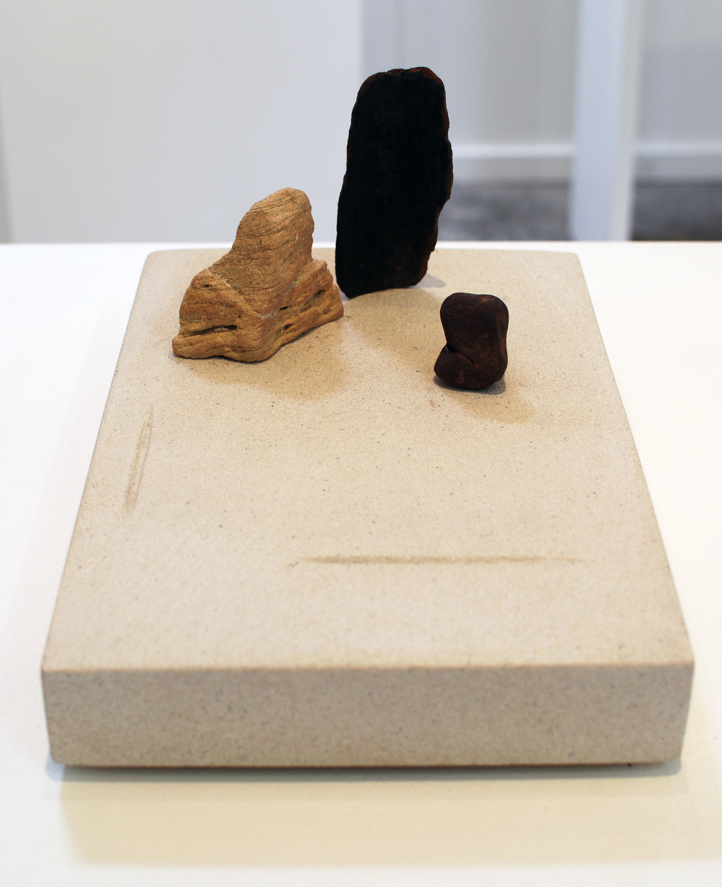Copy of 'Zen Stonescape 1', Simon Gandevia, Burnt wood and two stones on Sandstone base.