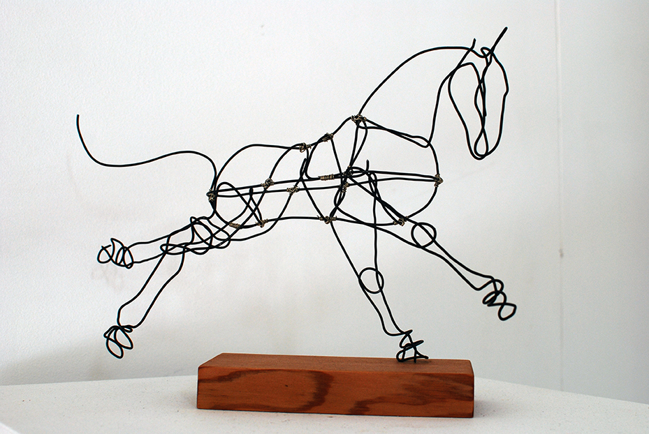 Copy of 'Constellation: Orion', Jules Jones, Black wire with silver nickel on recycled oiled cedar.