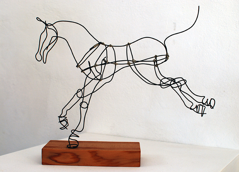 Copy of 'Constellation: Lyra', Jules Jones, Black wire with silver nickel on recycled oiled cedar.