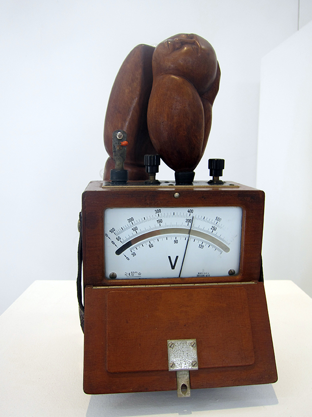 Copy of '103 Volts', wood, voltametre and collected objects, Anita Larkin. Represented by Defiance Gallery.