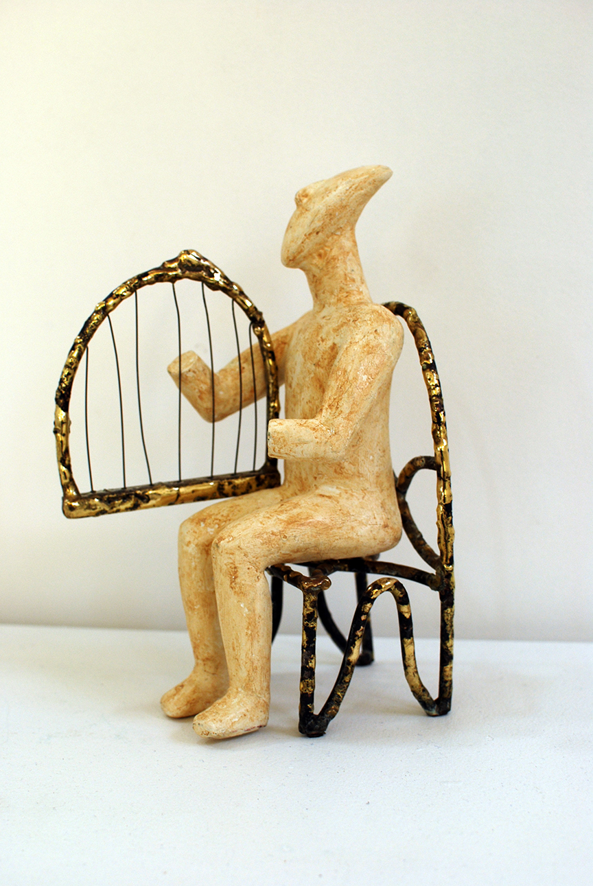 Copy of 'Cycladic Harpist', fired clay, steels, welded chair & harp, $1,400