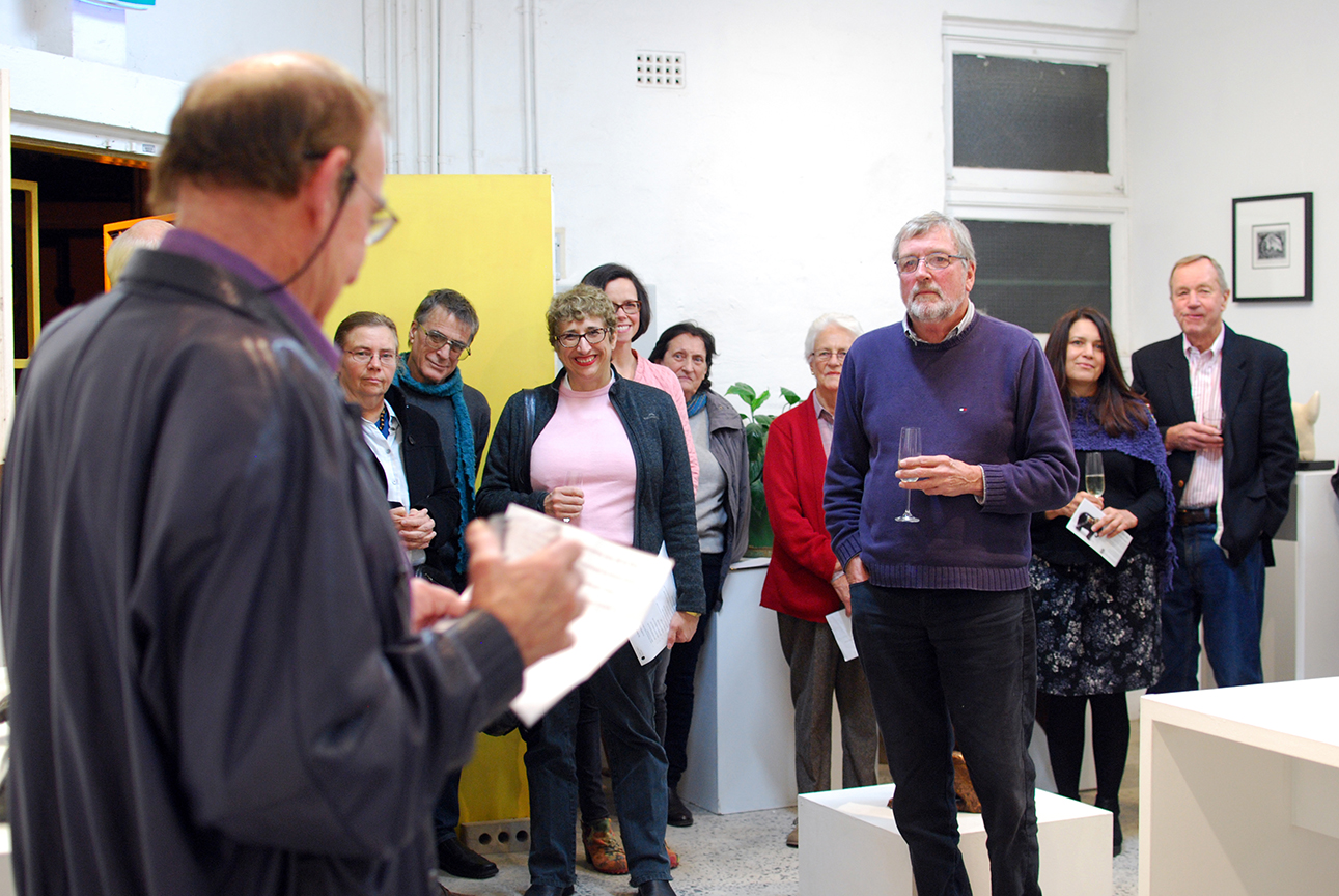 Copy of Exhibition opening night, Alan Somerville opening the show.
