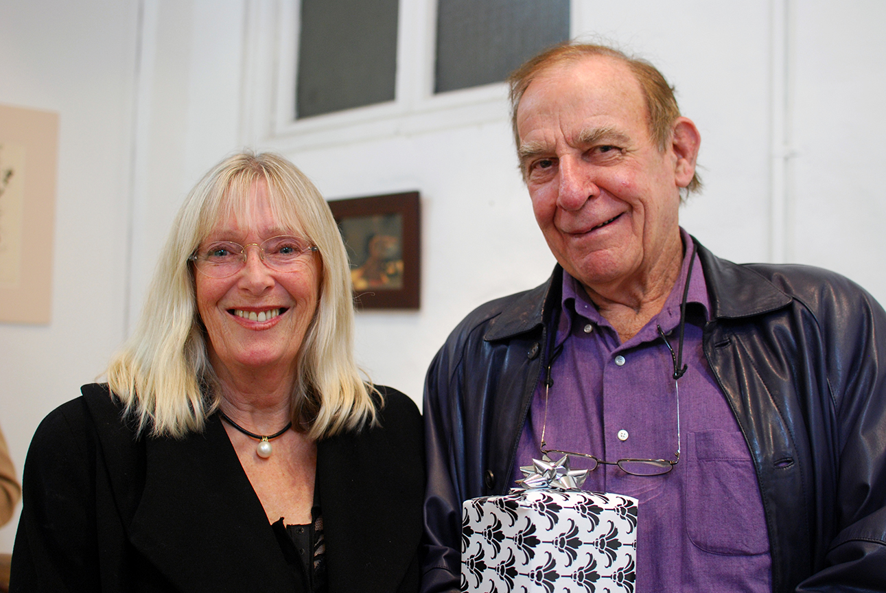 Copy of Exhibition opening night, artist Helen Alajajian pictured with Alan Somerville, who opened the show.
