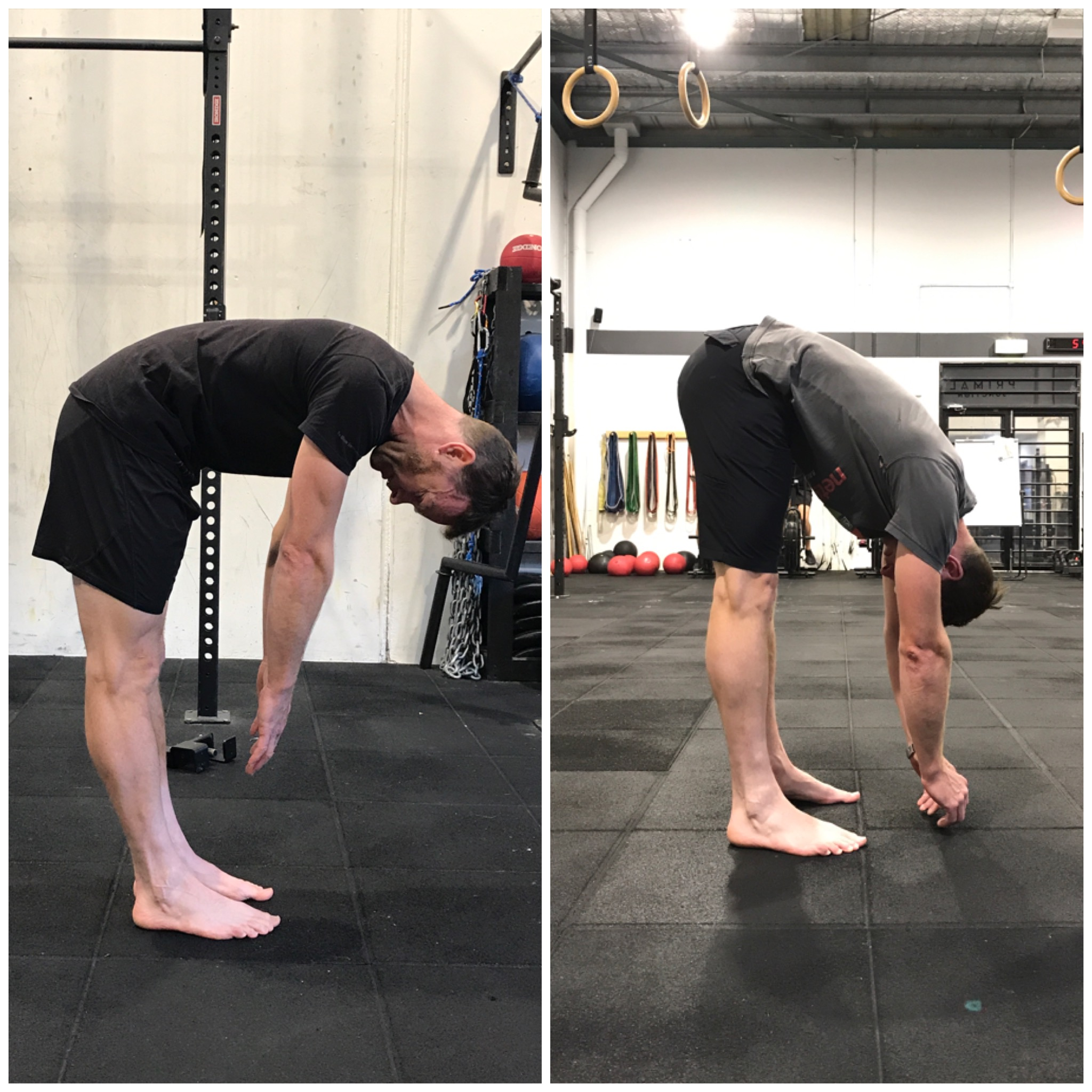 Here was 3-4 weeks of work for Justin, a cyclist/runner/all around bad-ass. He's improved his forward fold, his bridge (extension) and everything in between. The answer? Simple exercises, but he's consistent as!