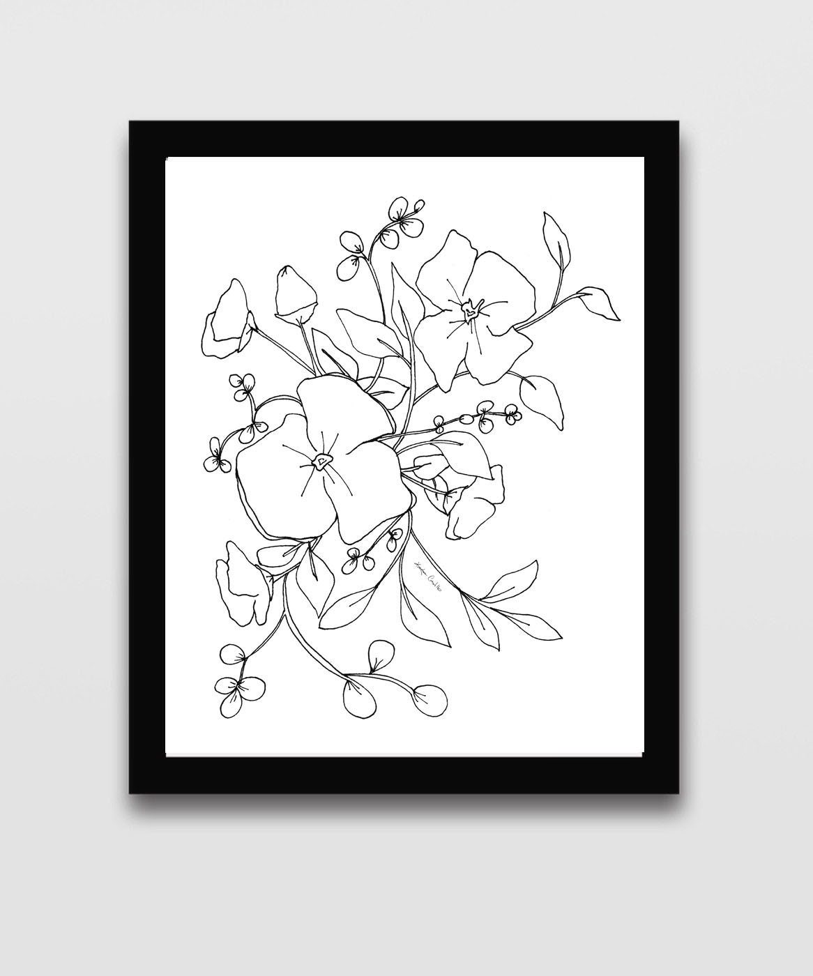Black and White Floral Printable