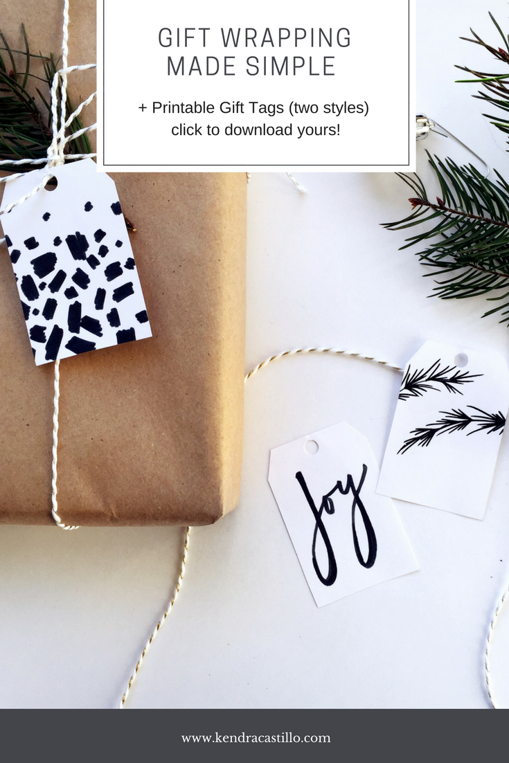 GIFT WRAPPING MADE SIMPLE + Printable Gift Tags (click to download your own) | Kendra Castillo