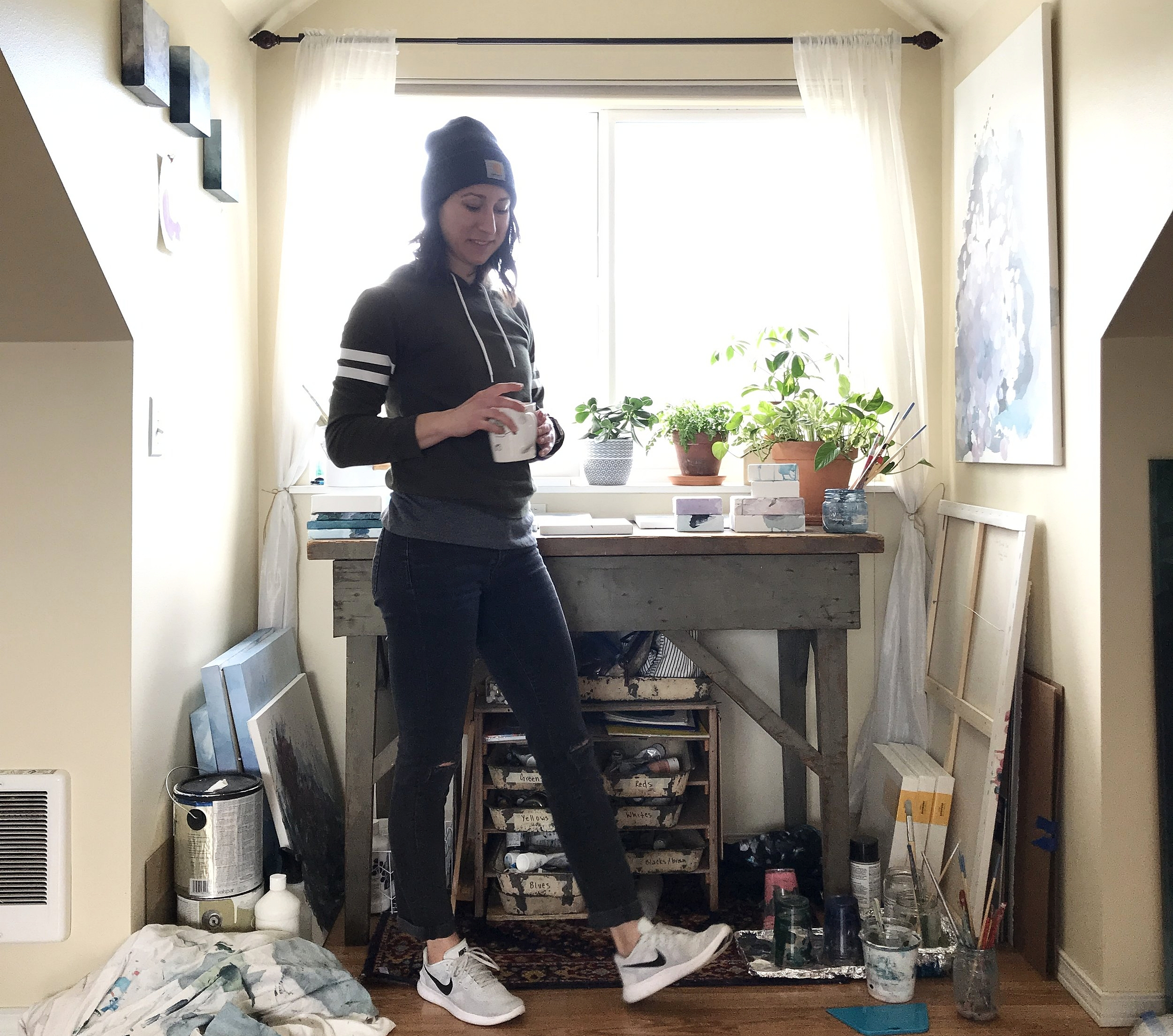 Working in my little studio nook. Ill cherish all of these days here. - Kendra Castillo