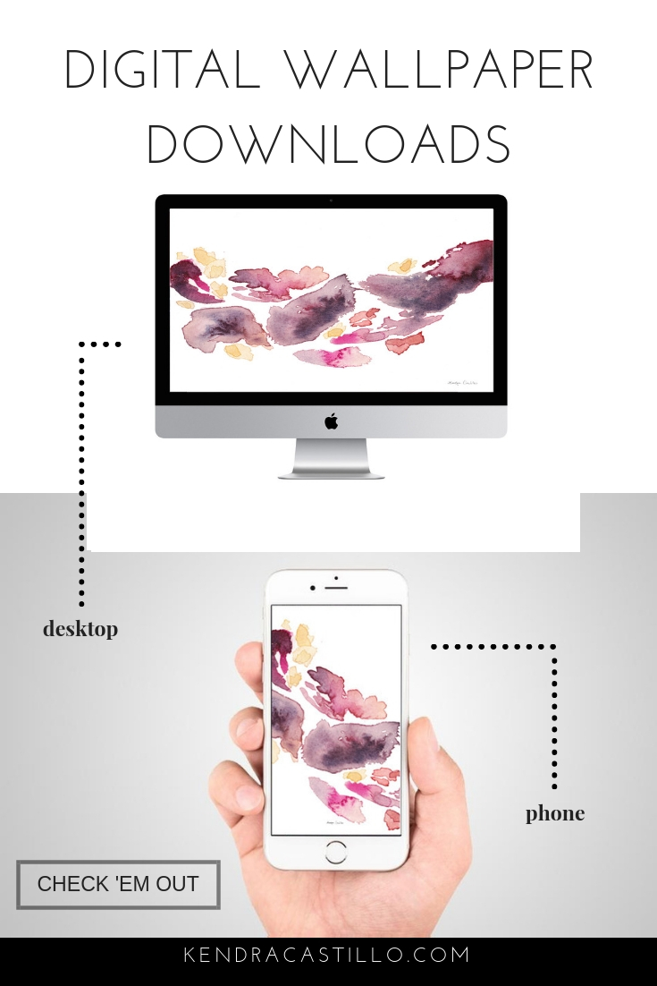 Colorful Floral Wallpaper Designs - Dress up your Desktop & Phone with these instant downloads! Phone & Computer Wallpaper background designs based on original paintings by Kendra Castillo. Click the image to see all 30 + designs. only $1.99!  Free Desktop & Phone Art wallpaper downloads by Kendra Castillo