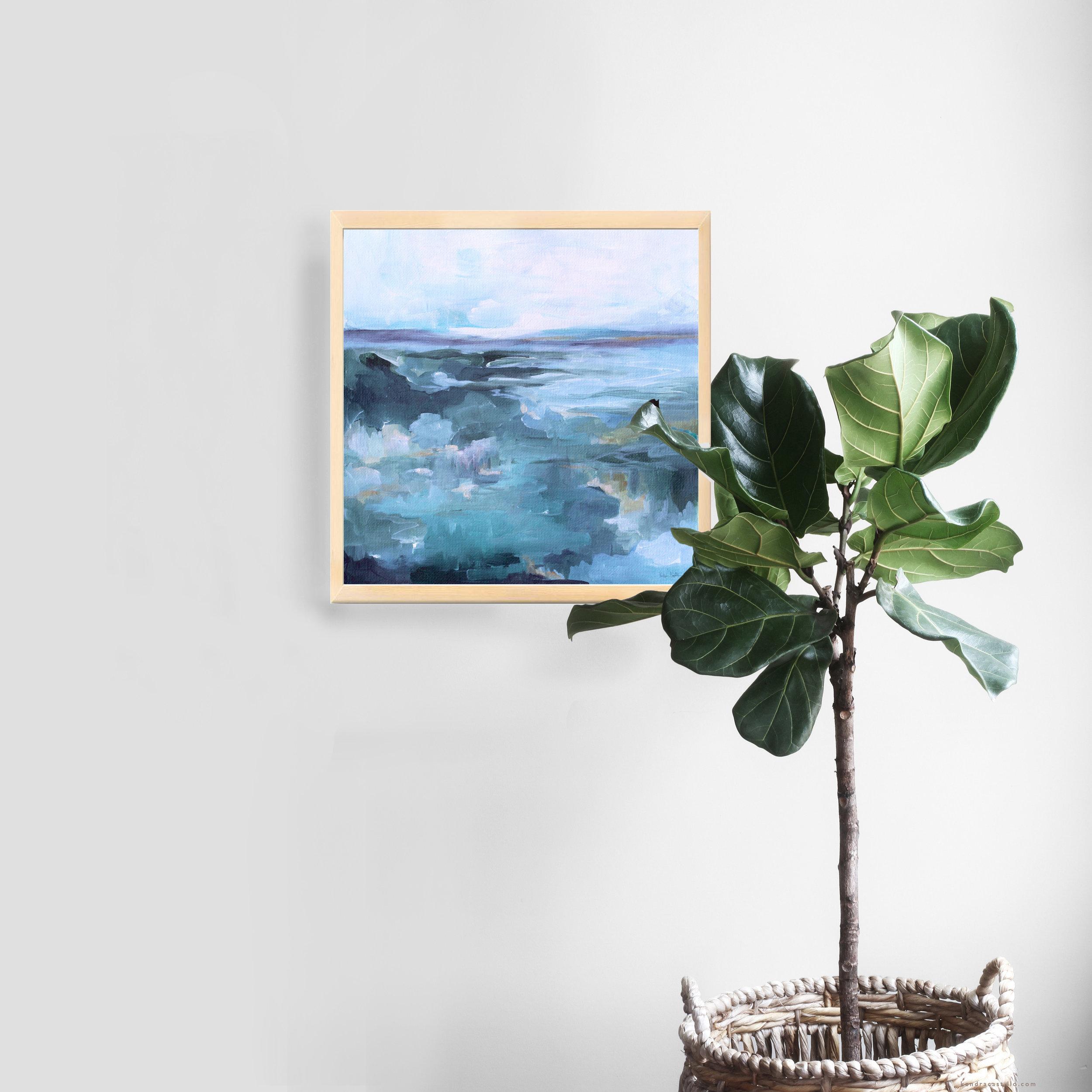 """Reflections"" A fine art print from Kendra Castillo's shop. www.kendracastillo.com #artprint #interiorart #homestyling #fiddleleaf #landscapepainting #abstractlandscape"