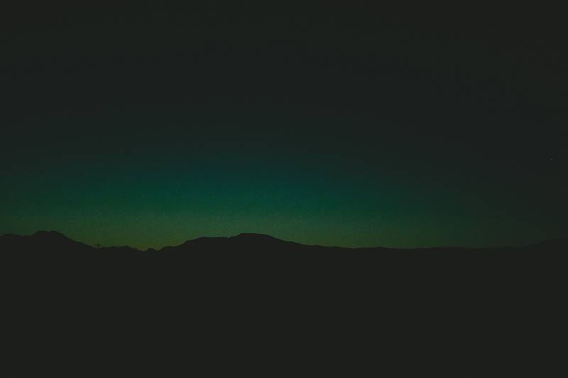 sunset view mountain with green sky