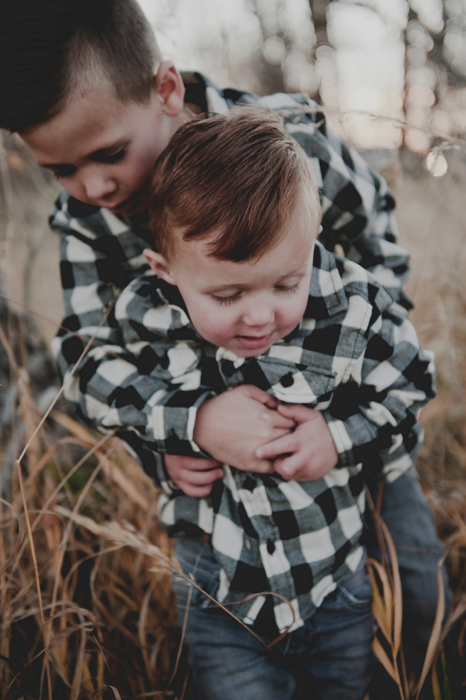 Brothers hugging each other