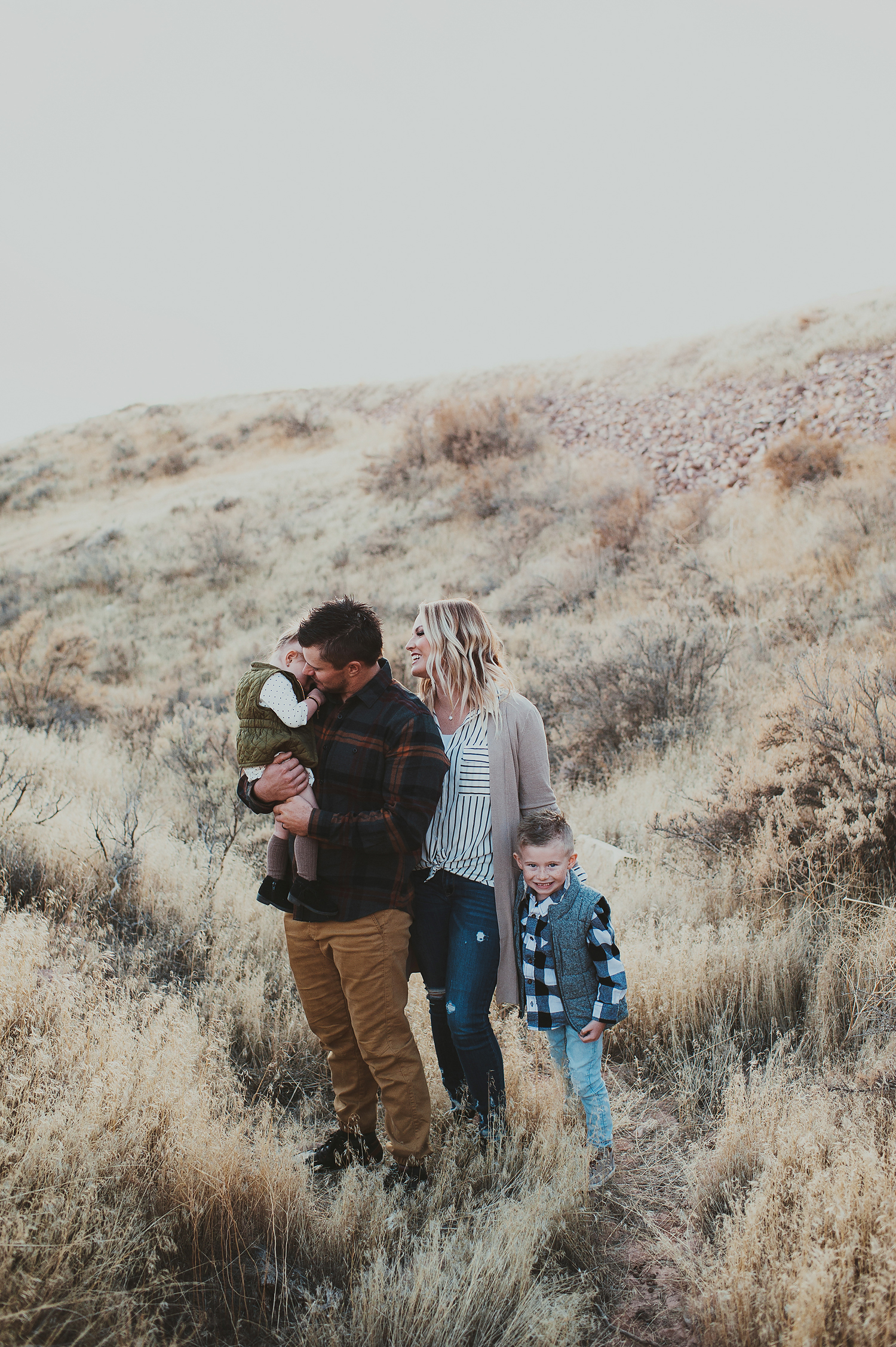 A family at their photo session in Roosevelt Utah